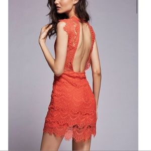 FREE PEOPLE daydream lace body on dress in coral